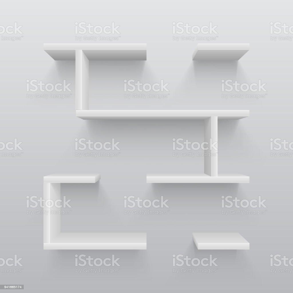 Witte Planken Aan De Muur.Witte Kunststof 3d Planken Met Licht Schaduw Op De Muur Eenvoud In