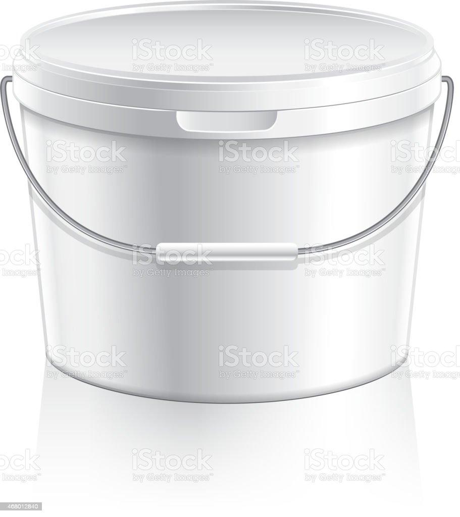 White plastic bucket for paint or food vector vector art illustration