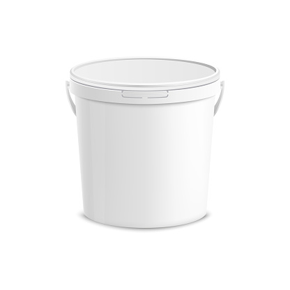 White plastic bucket mockup