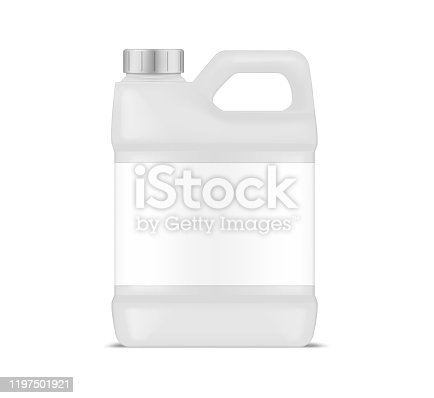 White plastic canister with blank label, vector mockup. Jug container with handle and screw cap, mockup. Large bottle package, template for design.