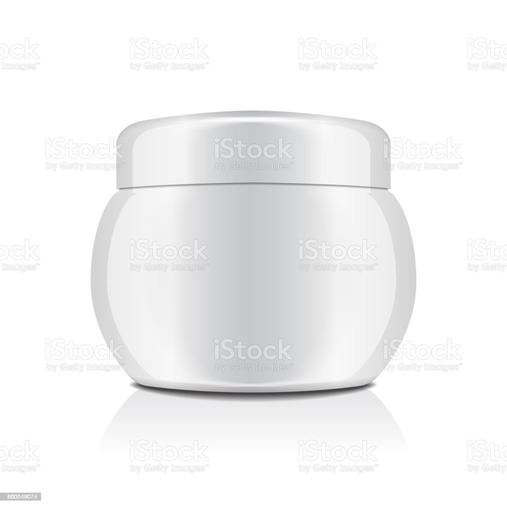 White plastic jar with cap for cosmetics. Closed container. Vector mockup template vector art illustration