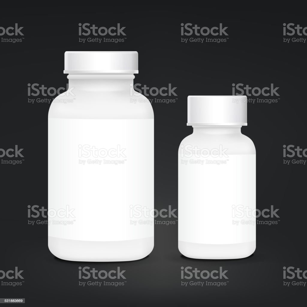 white plastic medical container set vector art illustration