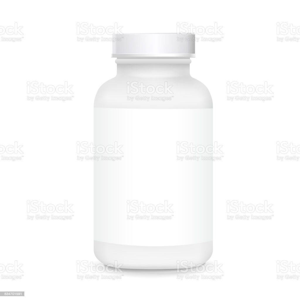 white plastic medical container vector art illustration