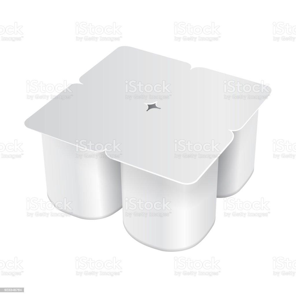 White Plastic Pack For Yogurt Cream Dessert Or Jam Rounded Square Form