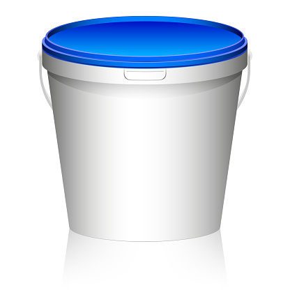 White plastic set bucket with blue lid. Product Packaging For food, foodstuff or paints, primers. MockUp Template For Your Design.
