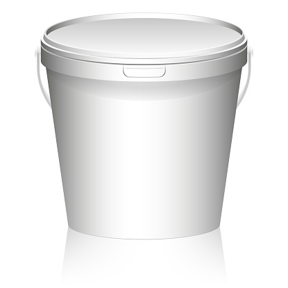 White plastic set bucket with White lid. Product Packaging For food, foodstuff or paints, primers, putty. MockUp Template For Your Design.