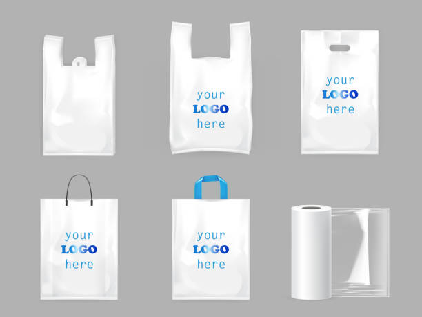 white plastic shopping bags - torba stock illustrations