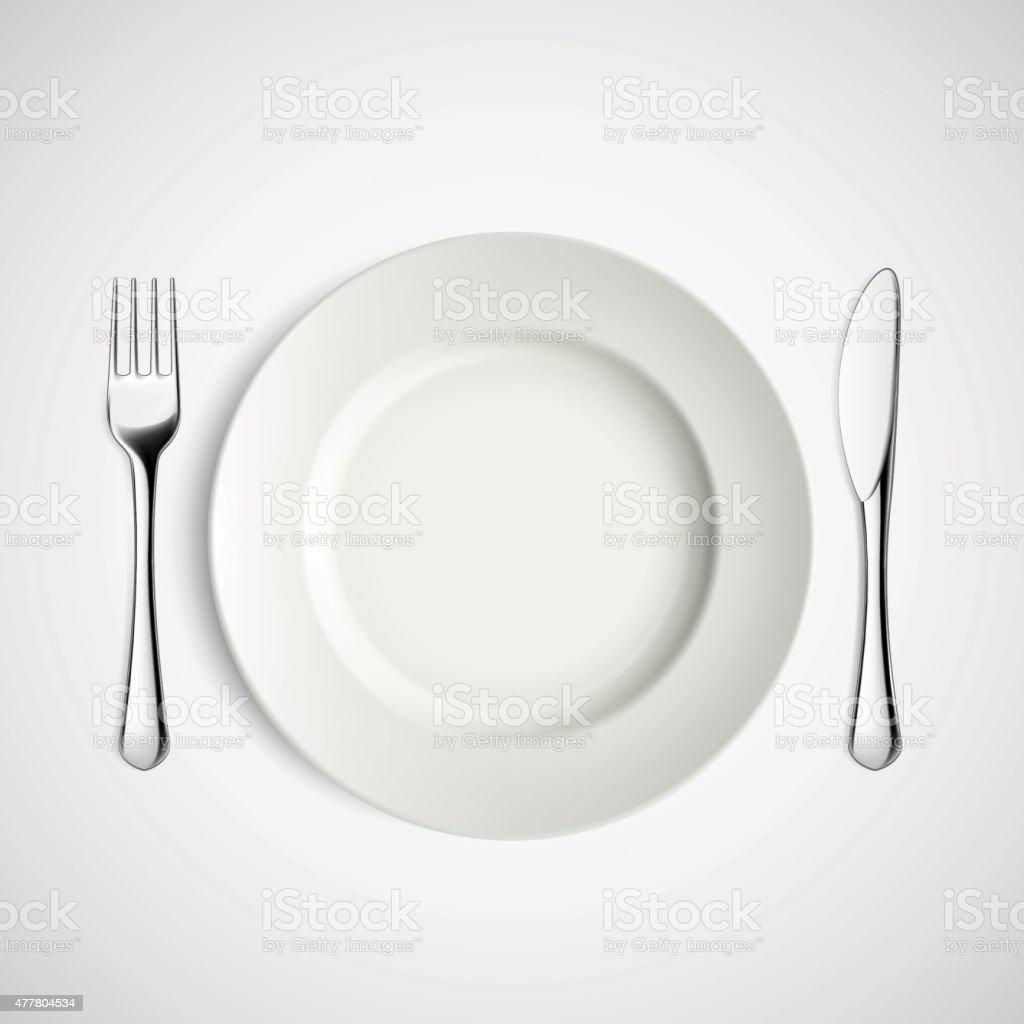 White plate, fork and knife. vector art illustration