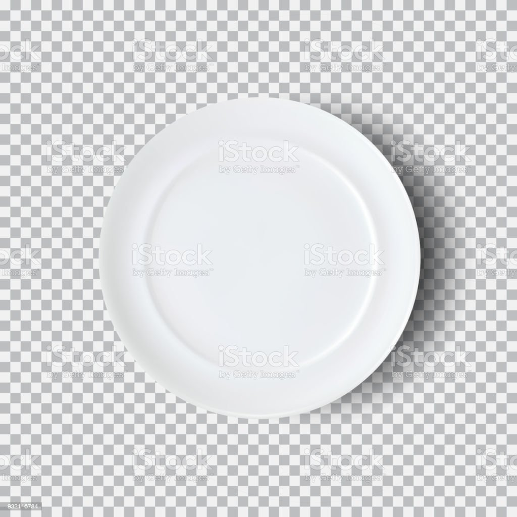 White plate isolated on transparent background vector art illustration