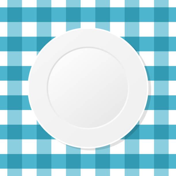 bildbanksillustrationer, clip art samt tecknat material och ikoner med vit platta på en blå ruvad duk. tom maträtt på en köksduk. - empty plate
