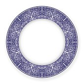 White plate with blue circular ornament. Vector illustration.