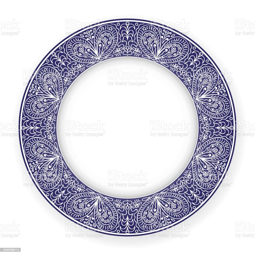 White plate with blue ornament vector art illustration