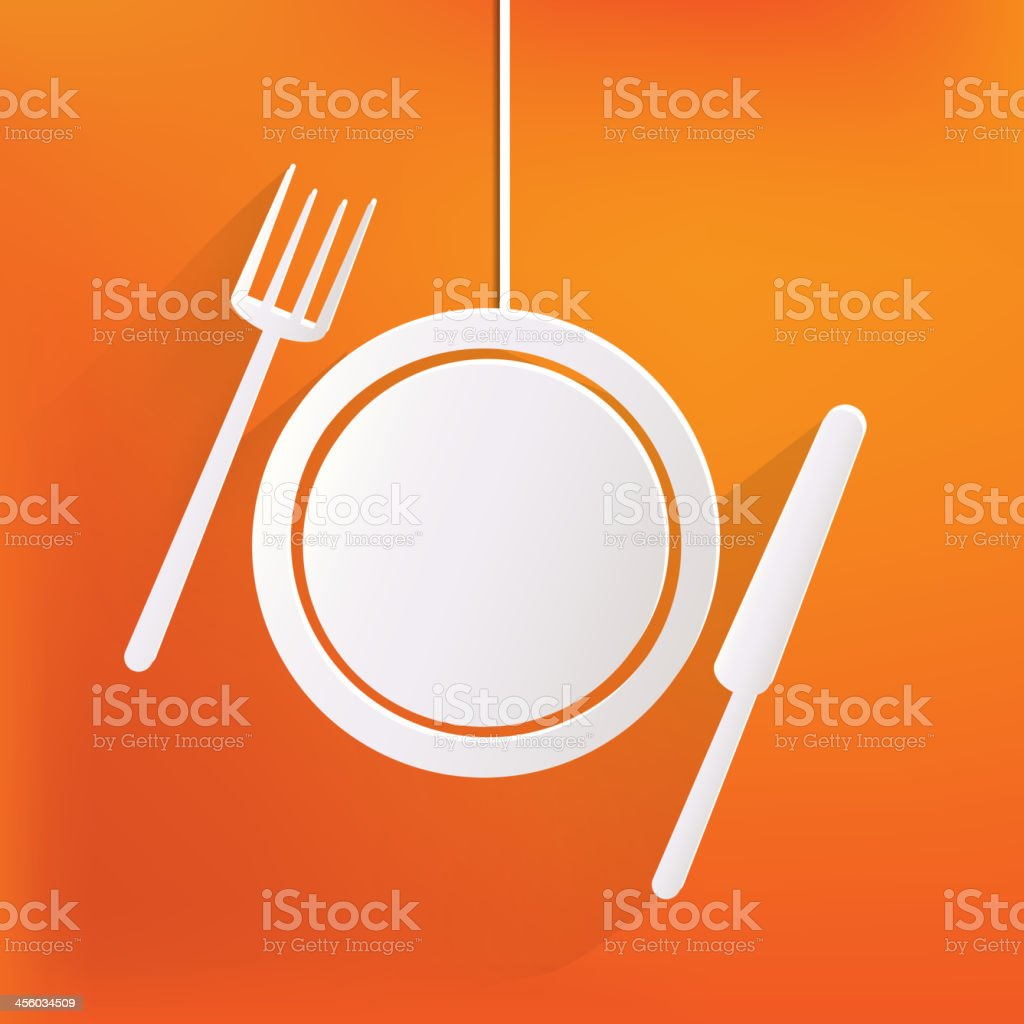 White plate with fork and spoon against orange background vector art illustration