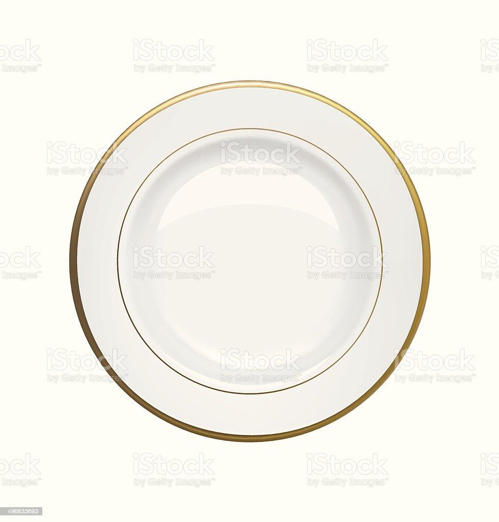 White plate with gold rims on white background. Vector illustration vector art illustration