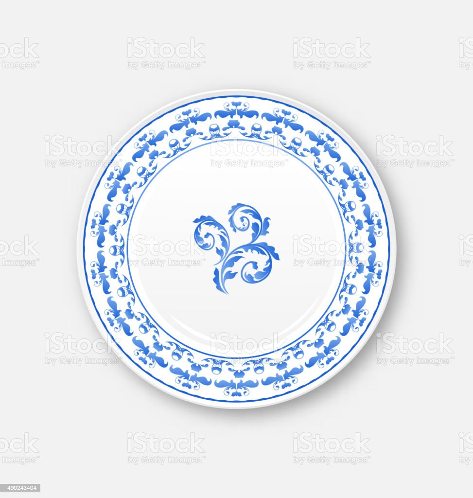 White plate with russian national ornament in gzhel style, empty vector art illustration