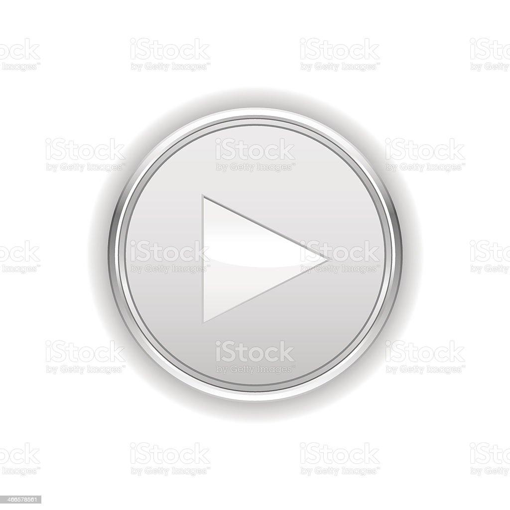 Blanc Bouton play - Illustration vectorielle