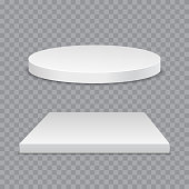 White podium. Round and square 3d empty podium with steps. Vector mockup