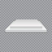 White podium. Square 3d empty podium with steps. Vector mockup