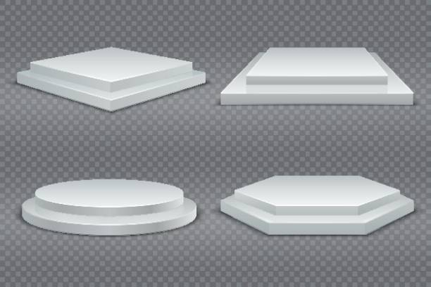 White podiums. Round and square 3d empty podium with steps. Showroom pedestals, floor stage platform vector mockup White podiums. Round and square 3d empty podium with steps. Showroom pedestals, floor stage platform vector isolated mockup showroom stock illustrations