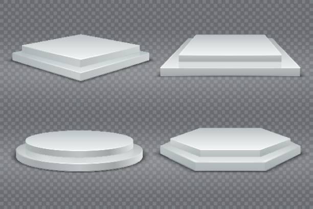 白の表彰台。丸形と角形 3 d 空と表彰台の手順。ショールームの台座、床ステージ プラットフォーム ベクトル モックアップ - ステージ点のイラスト素材/クリップアート素材/マンガ素材/アイコン素材