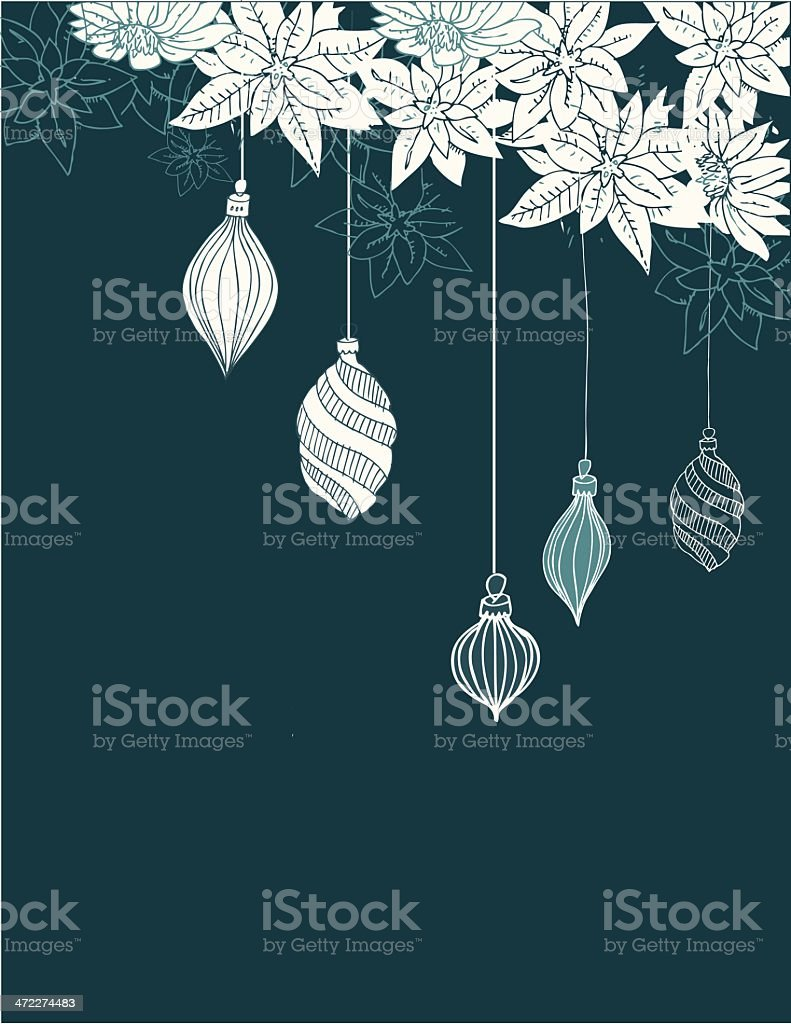 White poinsettia and ornaments royalty-free stock vector art