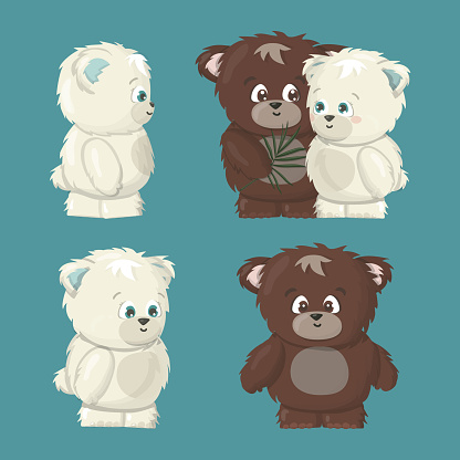 white polar and brown grizzly smiling happy bears poses set are in love cartoon vector illustration on blue background. Grizzly male bear makes a gift a tropical leaf for polar female bear