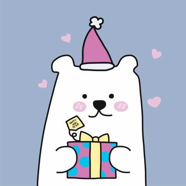 stockillustraties, clipart, cartoons en iconen met witte ijsbeer en kerst cadeau doos cartoon vector - 2010 2019