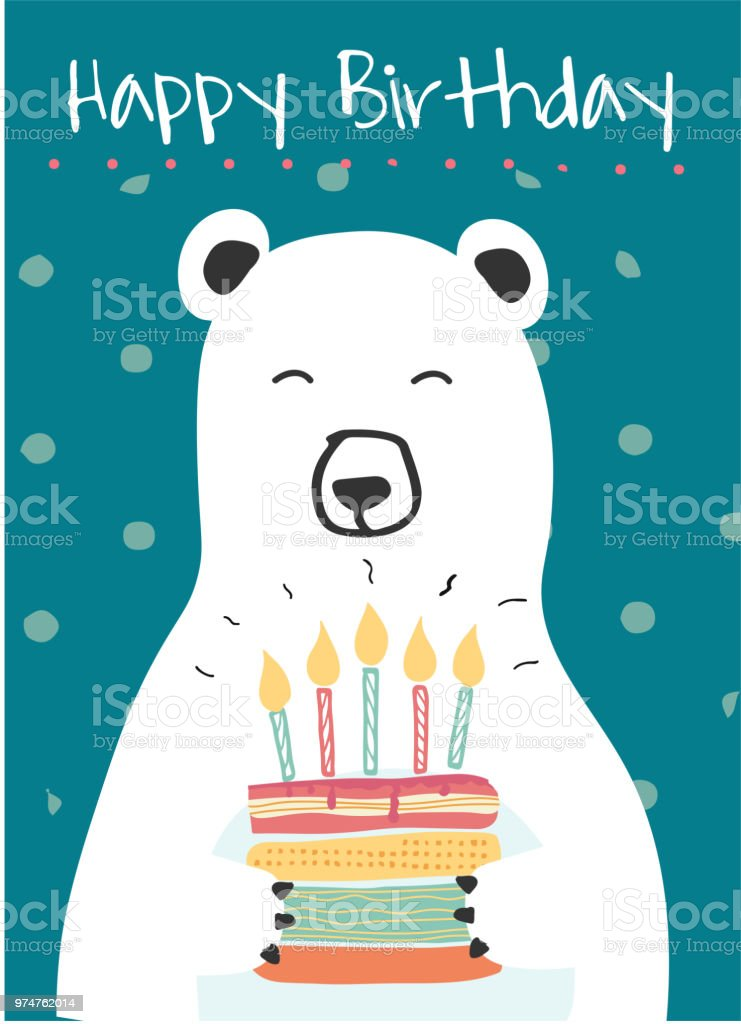 White Polar Bear Holding A Birthday Cake Idea For Birthday Card