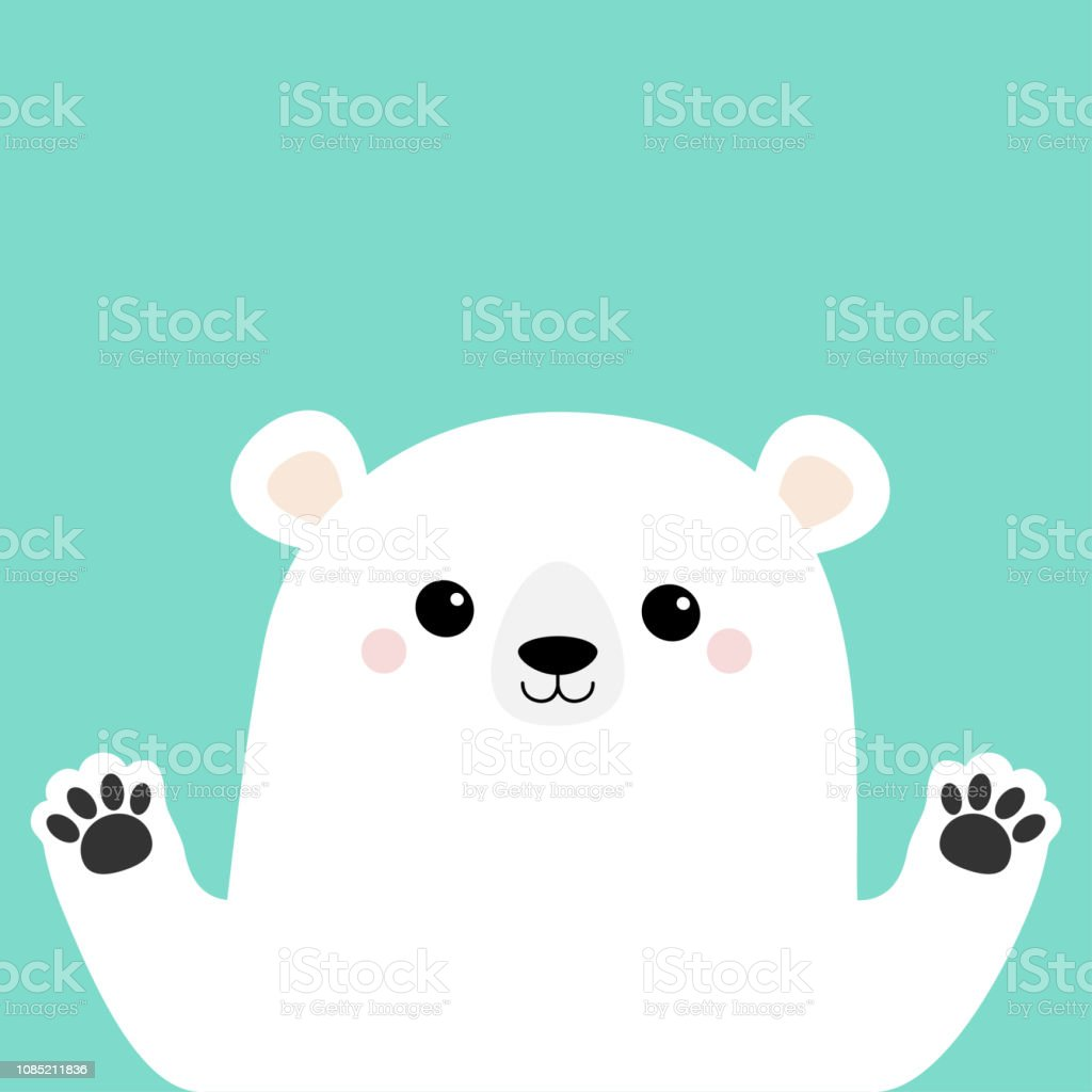 White polar bear holding hands paw print. Cute cartoon funny kawaii...
