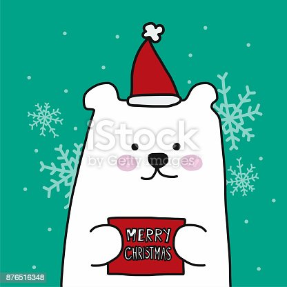 istock White polar bear Merry Christmas cartoon vector illustration 876516348