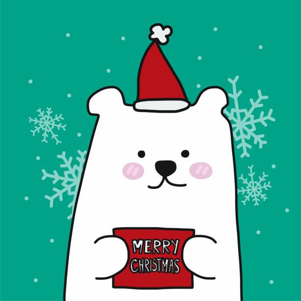 stockillustraties, clipart, cartoons en iconen met witte ijsbeer merry christmas cartoon vectorillustratie - 2010 2019