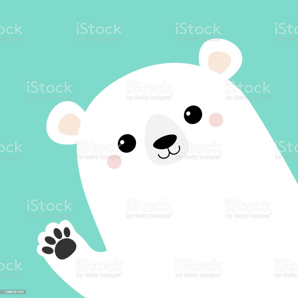 White polar bear waving hand paw print. Cute cartoon funny kawaii...