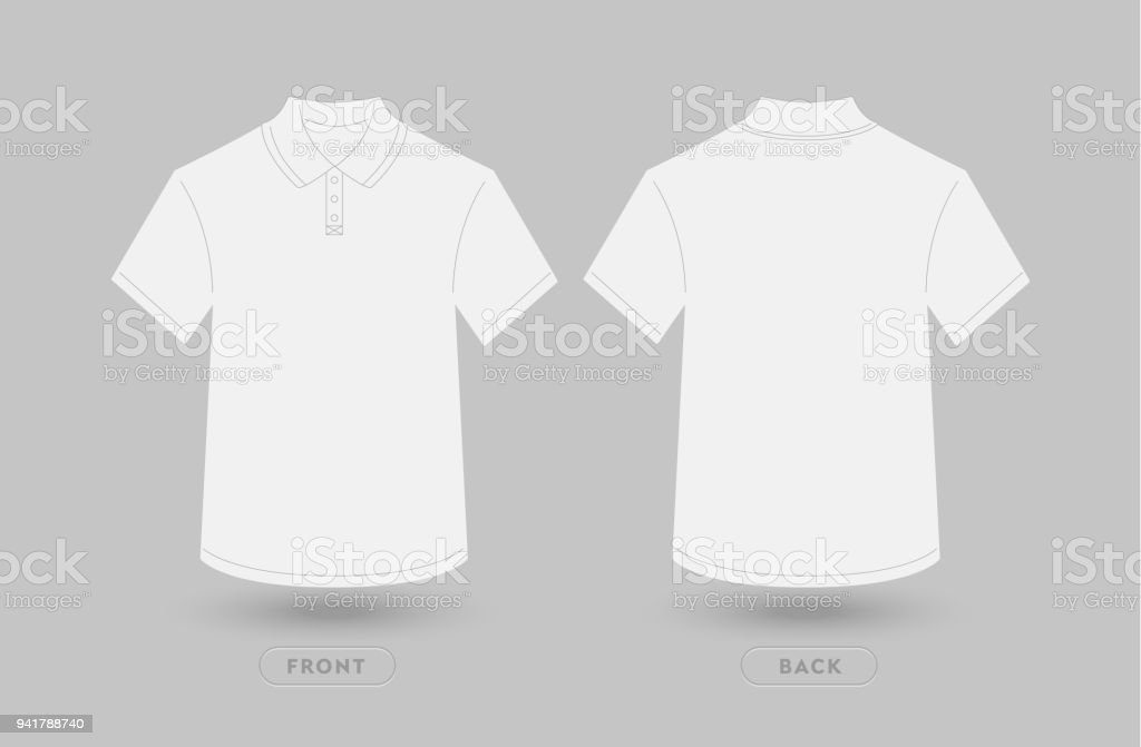 White Polo T Shirt Vector Illustration Front And Back View Empty