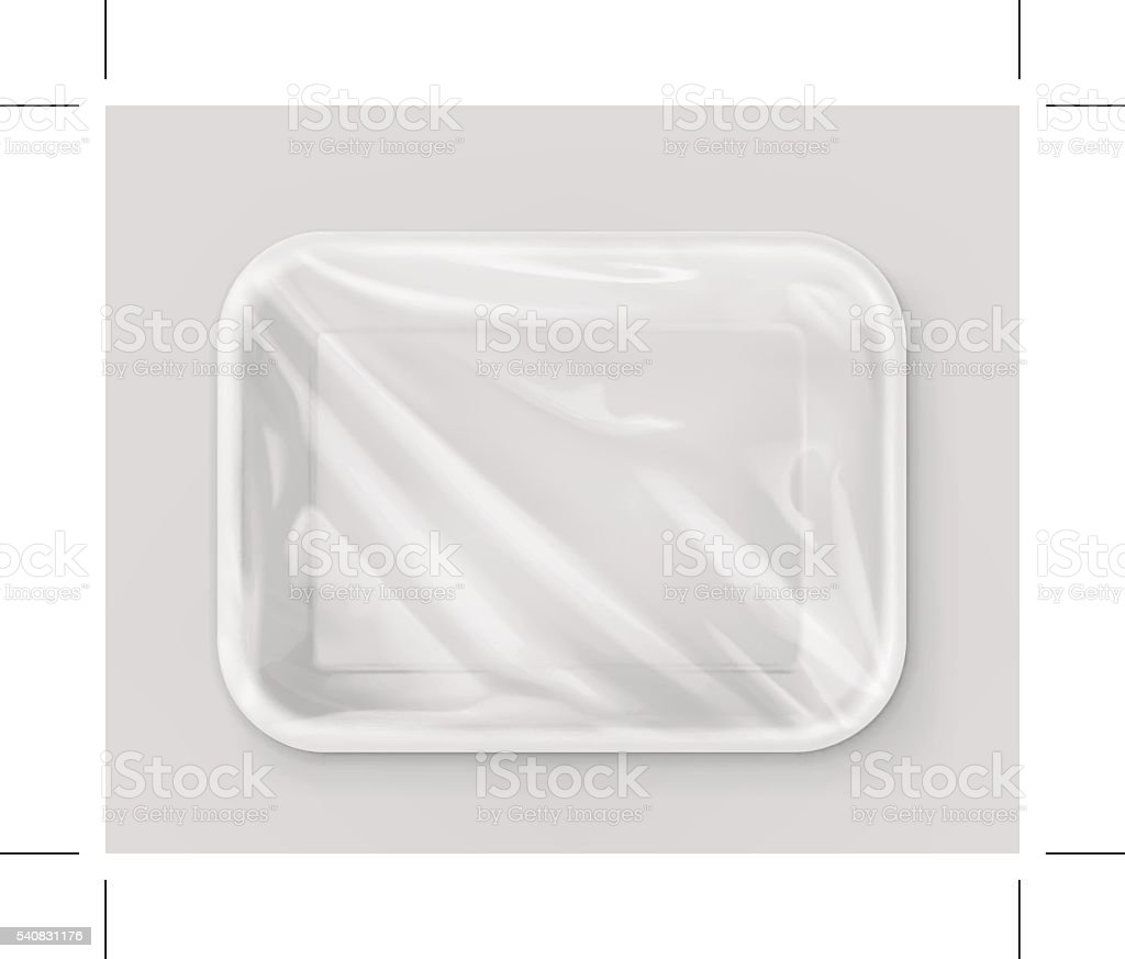 White polystyrene packaging, vector mockup vector art illustration