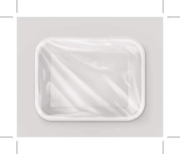 weiße polystyrol verpackung vektor-mockup - plastikhülle stock-grafiken, -clipart, -cartoons und -symbole