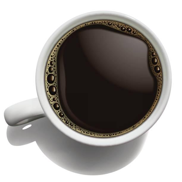 ilustrações de stock, clip art, desenhos animados e ícones de white porcelain cup of coffee with foam on a white background. high detailed realistic illustration - café solúvel