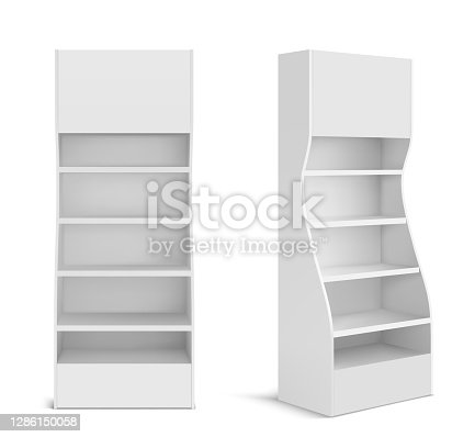 istock White POS display stand for supermarket 1286150058