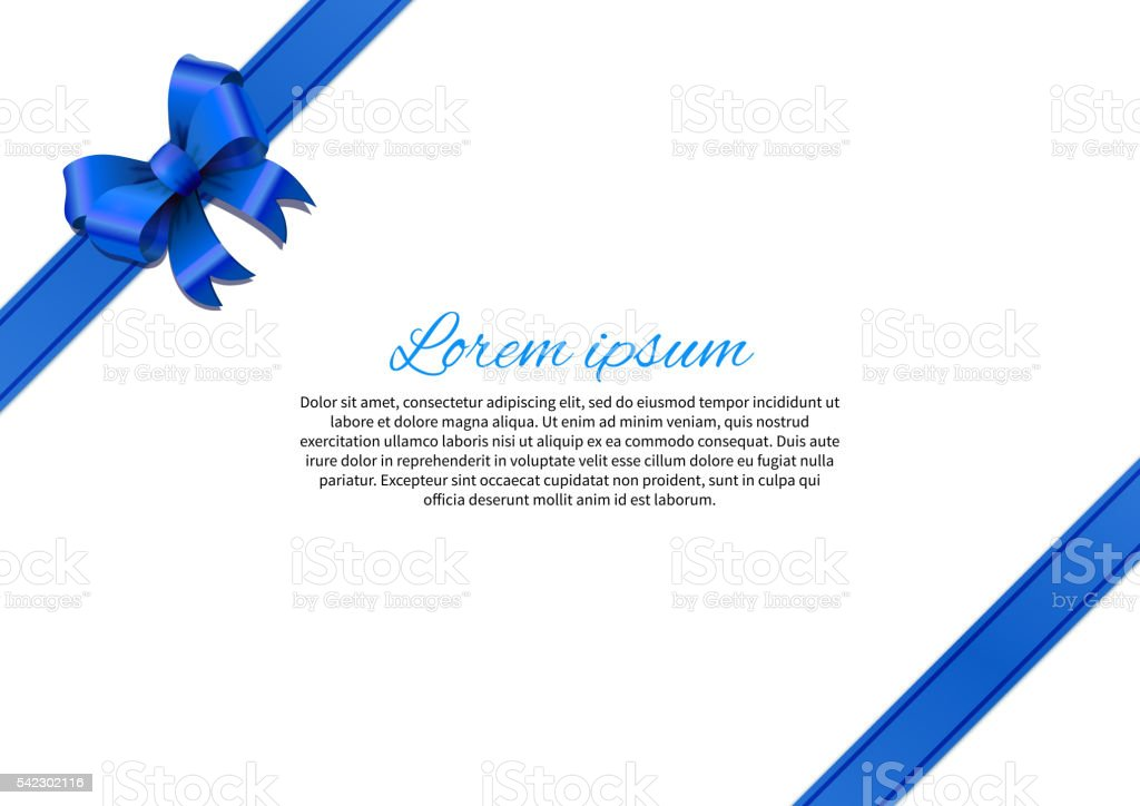 White postcard with blue bow and text vector art illustration