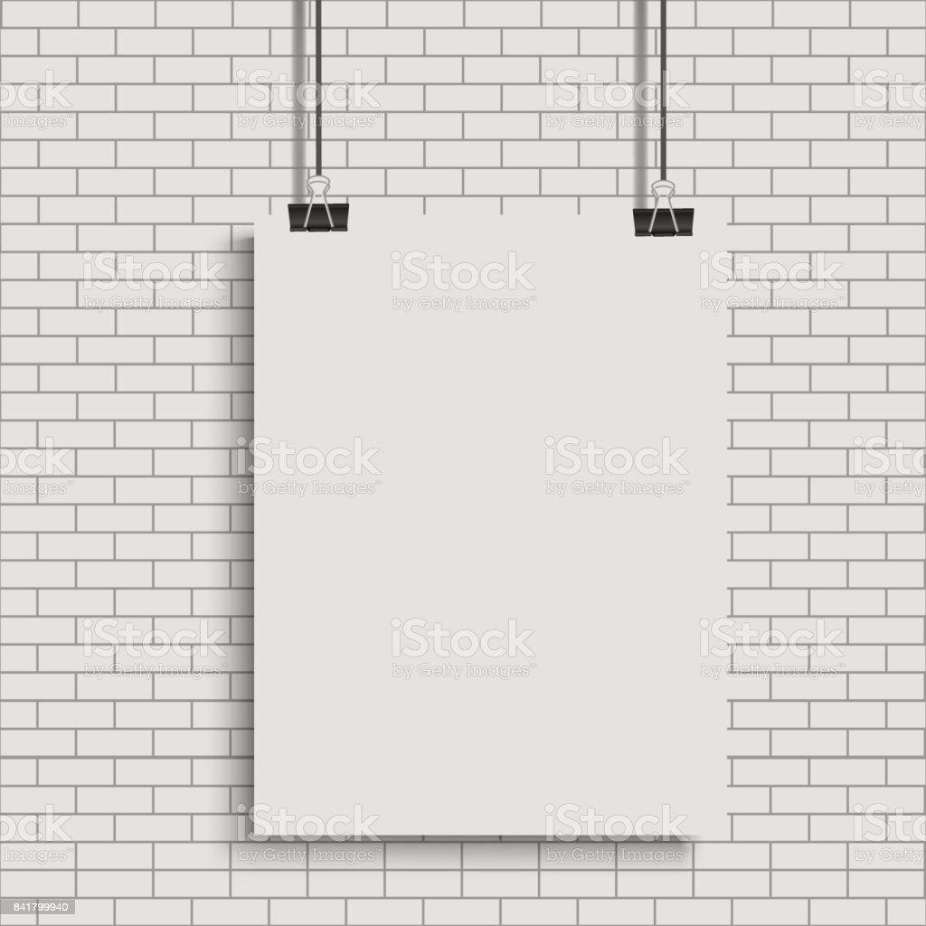 Weißes Plakat Hängt An Bindemittel Transparenten Hintergrund Mit ...