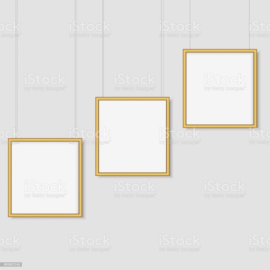 Weißes Plakat Aufhängen Weißen Hintergrund Mit Mockup Leere Gold ...