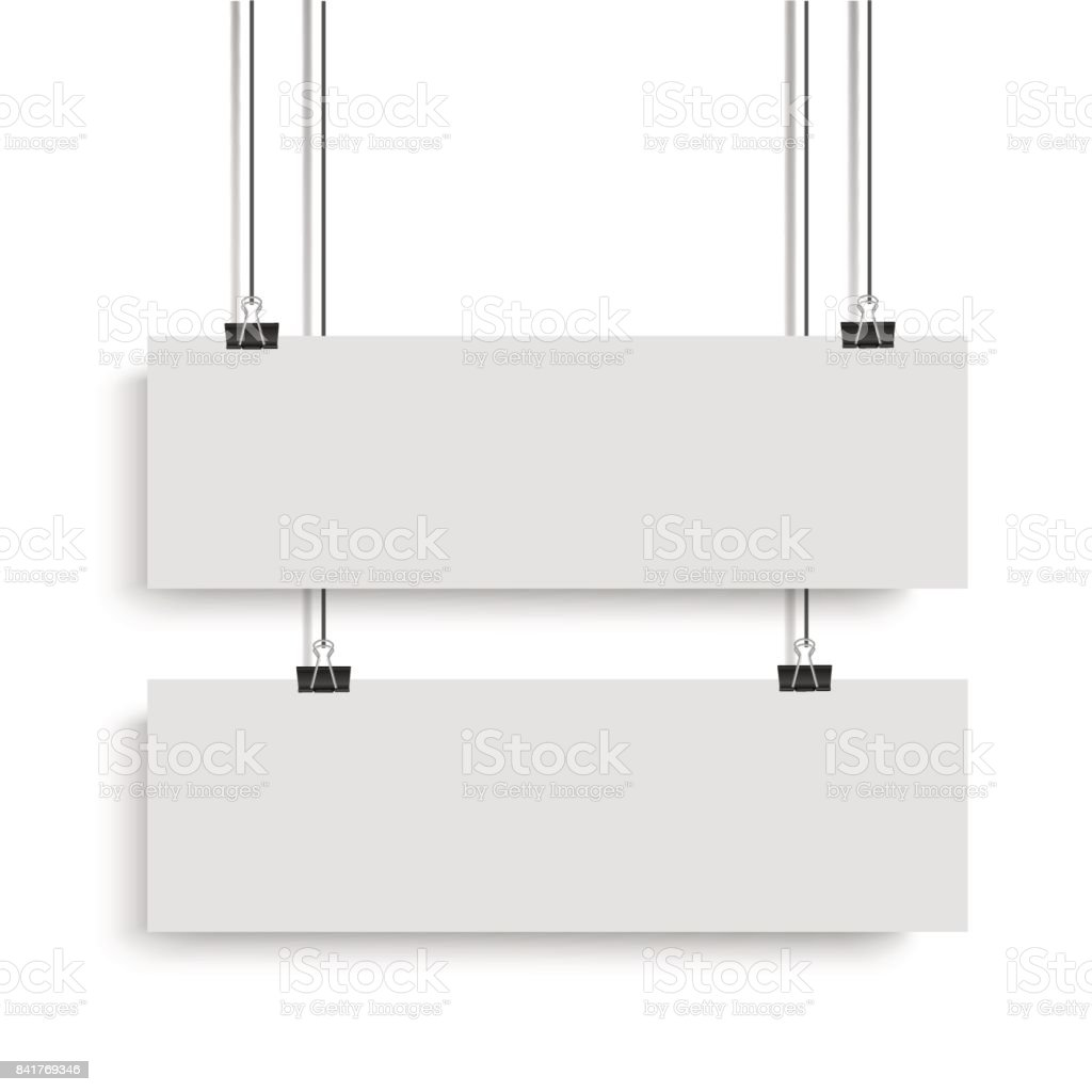 White poster mock up template hanging on binder. Two horizontal paper banners. Vector illustration. vector art illustration