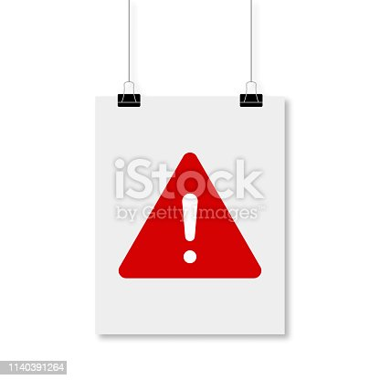 White poster with a sign of attention danger symbol with shadow. EPS 10