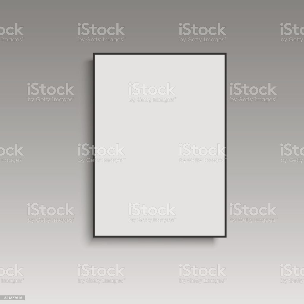 Weißes Plakat Mit Schwarzem Rahmen Mockup Auf Graue Wand Vektor ...