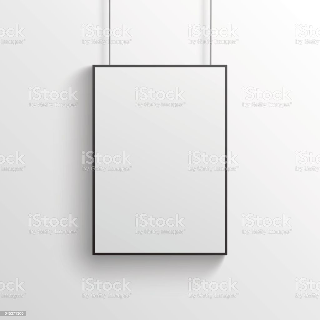 White poster with black frame mockup on grey wall vector art illustration