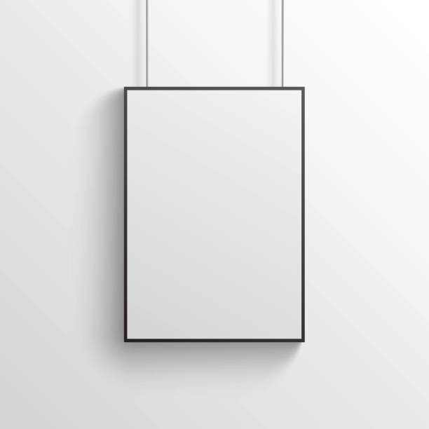 siyah çerçeve mockup gri duvar ile beyaz poster - poster stock illustrations