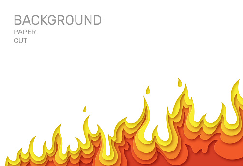 White poster with fire. Layered design in paper style. Place for text. Vector