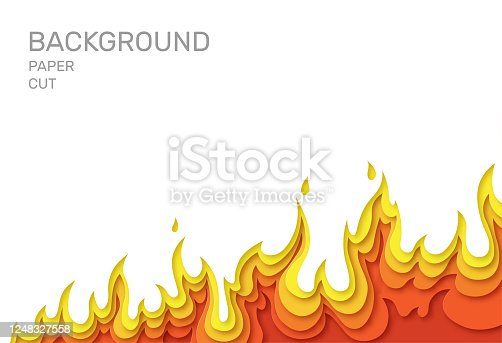 istock White poster with fire. Layered design in paper style. Place for text. Vector 1248327558