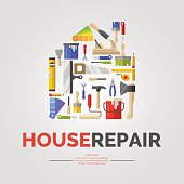 White poster with home of tools for house repair