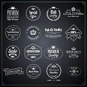 White premium quality stamps on dark background