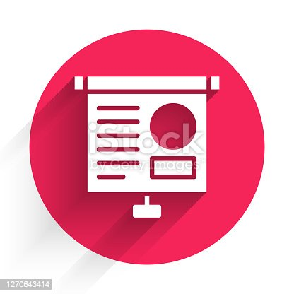 istock White Presentation board with graph, schedule, chart, diagram, infographic, pie graph icon isolated with long shadow. Red circle button. Vector Illustration 1270643414